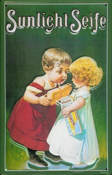 Blechschild Sunlicht Seife grün Junge Mädchen Kinder Schild retro Werbeschild Nostalgieschild