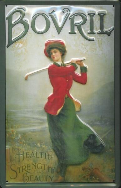 Blechschild Bovril Golf Lady Frau Golferin retro Schild Nostalgieschild