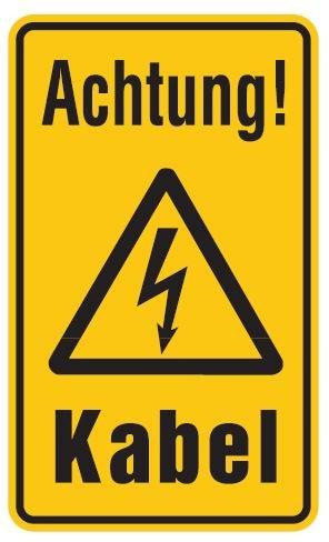Aluminium Schild Achtung! Kabel 120x200 mm geprägt