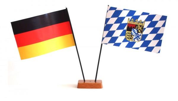 Mini Tischflagge Bayern 9x14 cm Höhe 20 cm mit Gratis-Bonusflagge und Holzsockel Tischfähnchen