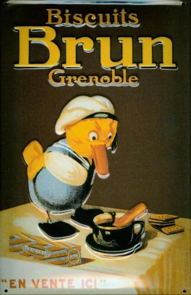 Blechschild Biscuits Brun Grenoble Ente Küken Schild Frankreich Werbeschild