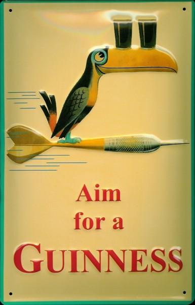 Blechschild Guinness Beer Aim for a Guinness Dart Vogel Toucan Schild Werbeschild Tukan