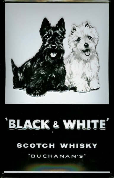 Blechschild Black & White Scotch Whisky Hunde retro Schild Nostalgieschild