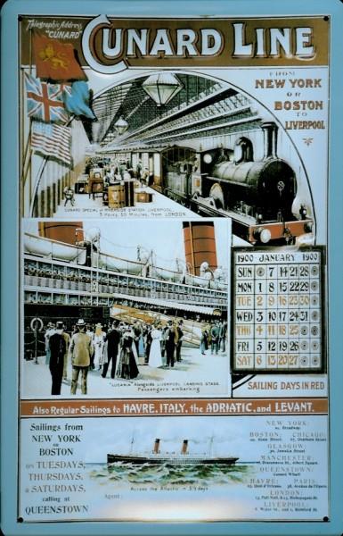 Blechschild Cunard Line Eisenbahn und Schiff Kreuzfahrt Schiff Schild Nostalgieschild