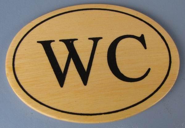 Ovales Holz - Türschild WC 7x10 cm helles Holzschild Toilette