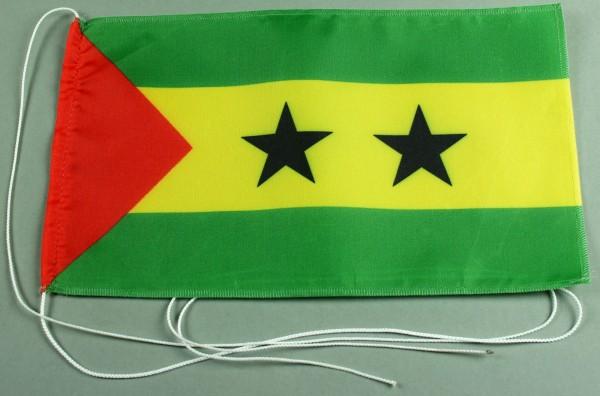 Tischflagge Sao Tome und Principe 25x15 cm optional mit Holz- oder Chromständer Tischfahne Tischfähn