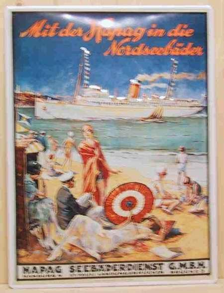 Blechschild Mit der Hapag in die Nordseebäder Dampfer Schiff Schild Nostalgieschild