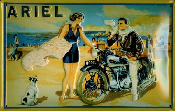 Blechschild Ariel quer Nostalgieschild Motorrad Strand Schild