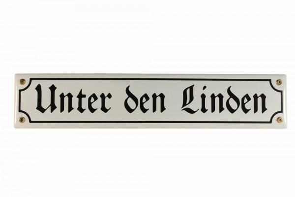 Strassenschild Unter den Linden 40x8 cm Berlin Souvenir Email Strassen Schild Emaille