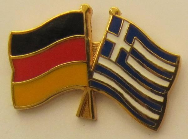 Griechenland / Deutschland Freundschafts Pin Anstecker Flagge Fahne Nationalflagge
