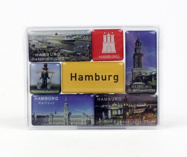 Magnet Set Hamburg diverse Motive 7-teilig Souvenirs Andenken