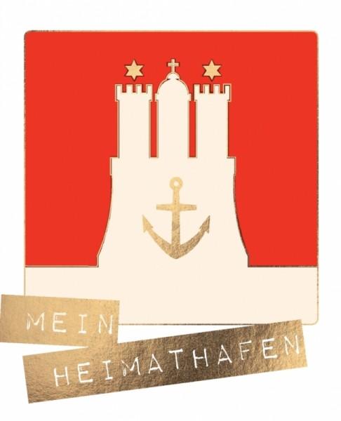 Postkarte Hamburg Mein Heimathafen Goldfolie