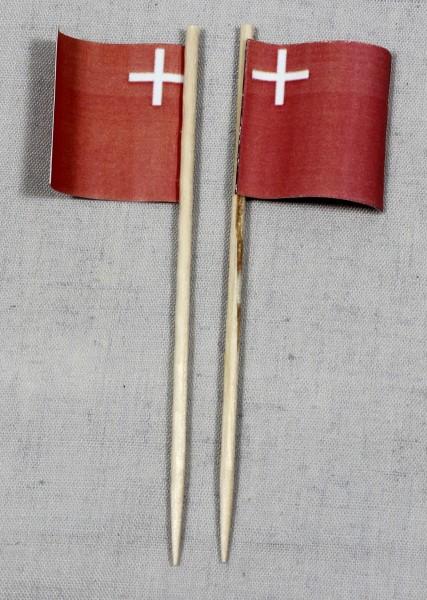 Party-Picker Flagge Schwyz Kanton Schweiz Papierfähnchen in Spitzenqualität 50 Stück Beutel