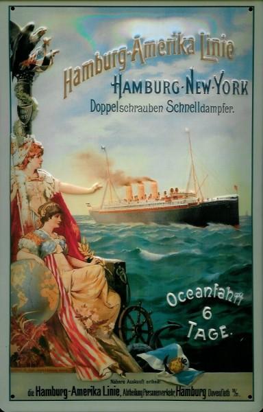 Blechschild Hamburg Amerika Linie Doppelschrauben Schnelldampfer Dampfer Reedereiplakat Schiff Schil