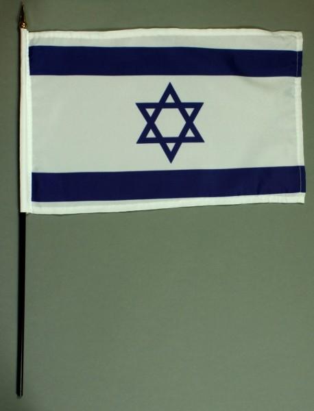 Tischflagge Israel 20x30 cm optional mit Tischflaggenständer aus Mahagoni Holz
