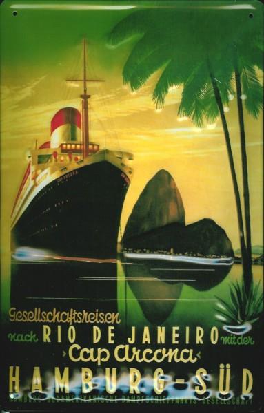 Blechschild Hamburg Süd Rio de Janeiro Cap Arkona Kreuzfahrt Dampfer Schiff Schild Nostalgieschild