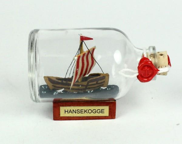 Bremer Hansekogge Mini Buddelschiff 50 ml ca. 7,2 x 4,5 cm Flaschenschiff