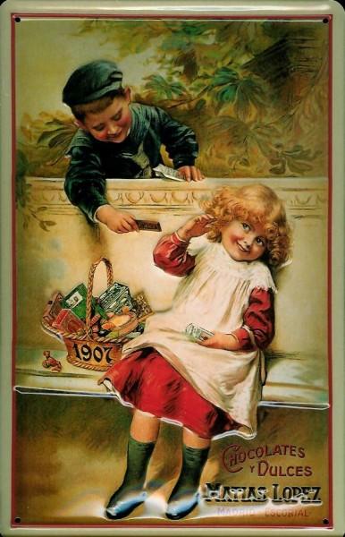 Blechschild Lopez Chocolates Kinder Schokolade Schild retro Werbeschild