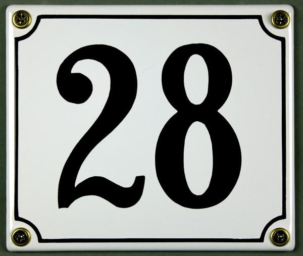Hausnummernschild 28 weiß 12x14 cm sofort lieferbar Schild Emaille Hausnummer Haus Nummer Zahl Ziffe