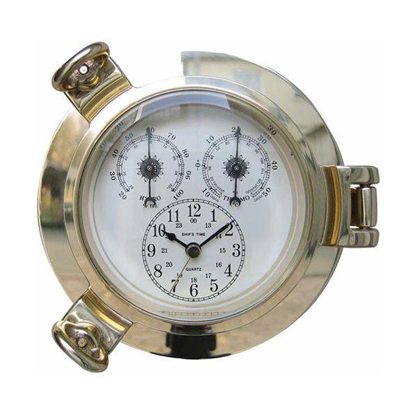 Uhr, Thermometer / Hygrometer im Bullauge 14cm Messing Wetterstation