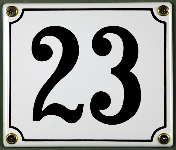 Hausnummernschild 23 weiß 12x14 cm sofort lieferbar Schild Emaille Hausnummer Haus Nummer Zahl Ziffe