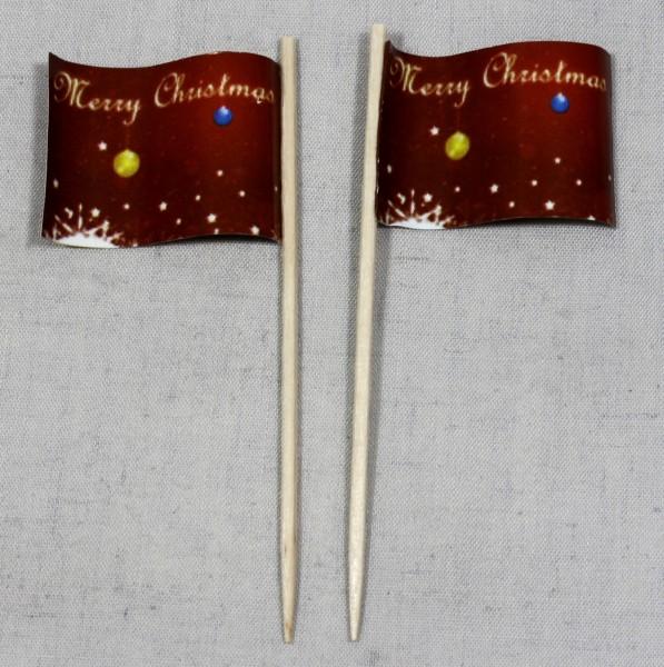 Party-Picker Flagge Weihnachten 3 Merry Christmas Papierfähnchen in Spitzenqualität 50 Stück Beutel