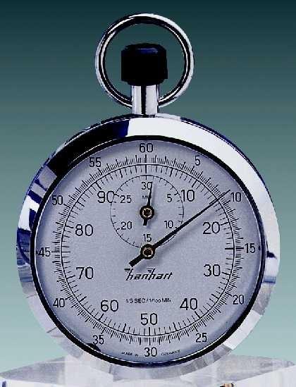 Mechanische analog Kronen Stoppuhr Hanhart 1/10 sec + 1/100 min 30 min
