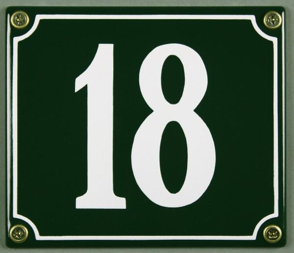 Hausnummernschild 18 grün 12x14 cm sofort lieferbar Schild Emaille Hausnummer Haus Nummer Zahl Ziffe