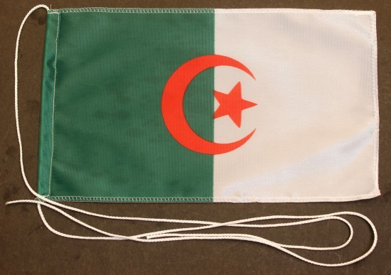 Tischflagge Algerien 25x15 cm optional mit Holz- oder Chromständer Tischfahne Tischfähnchen