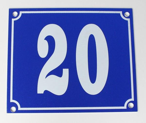 Hausnummernschild Aluminium Aluschild 1 mm Stärke Alu Schild Nr. 20 blau