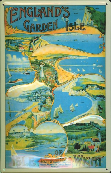 Blechschild Nostalgieschild Isle of Wight England Garden