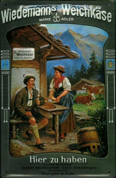 Blechschild Wiedemanns Weichkäse Alpen Käse Kuh Berghütte Schild