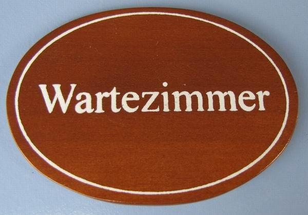 Ovales Holz - Türschild Wartezimmer 7x10 cm dunkles Holzschild