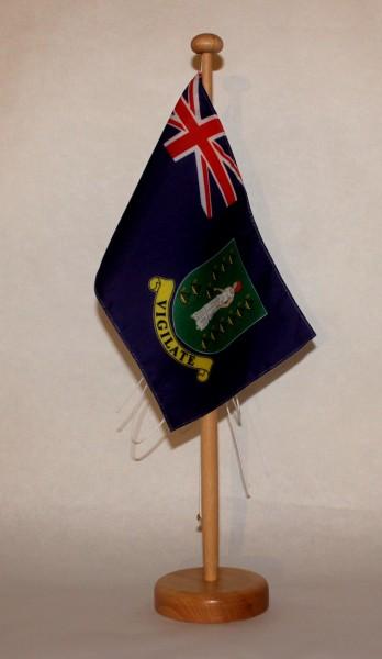 Tischflagge Virgin Islands USA Jungferninseln 25x15 cm optional mit Holz- oder Chromständer Tischfah