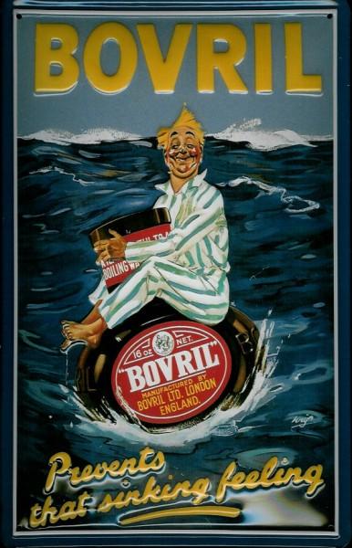 Blechschild Bovril Mann im Meer London Reklame Schild Nostalgieschild