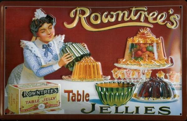 Blechschild Rowntree Table Jellies Marmelade Pudding Retro Schild Werbeschild