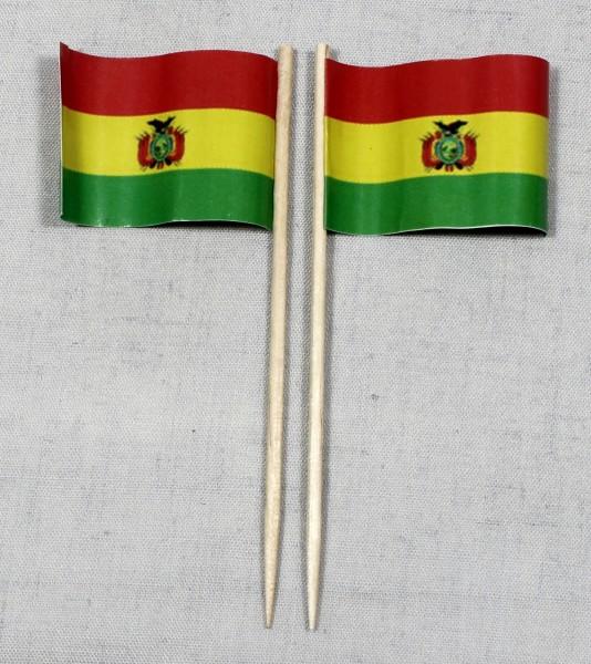 Party-Picker Flagge Bolivien Papierfähnchen in Spitzenqualität 50 Stück Beutel