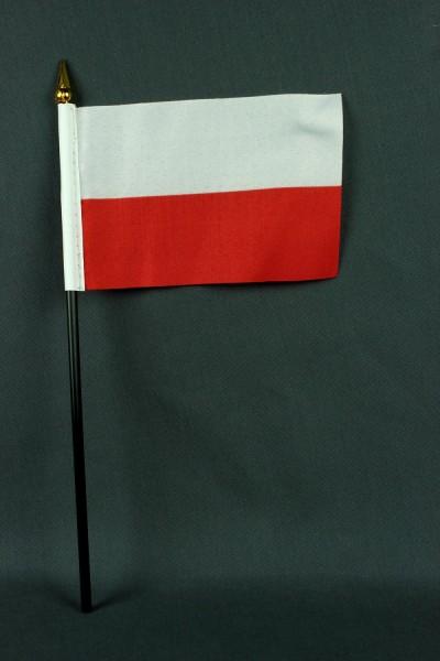 Kleine Tischflagge Polen 10x15 cm optional mit Tischfähnchenständer
