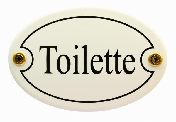 Emaille Türschild Toilette weiss oval Emaille Toilettenschild Schild WC Klo Kloschild