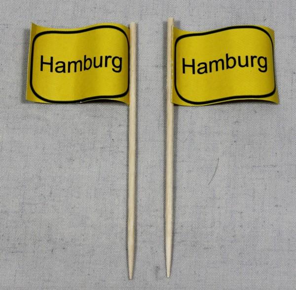 Party-Picker Flagge Ortsschild Hamburg Papierfähnchen in Spitzenqualität 50 Stück Beutel