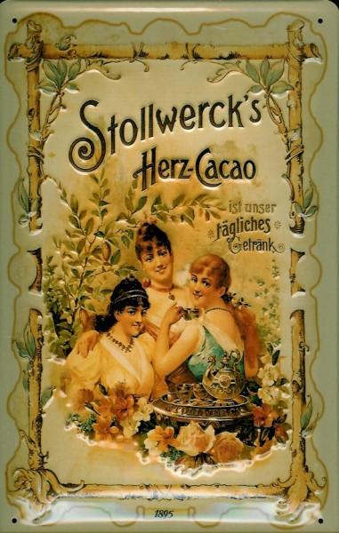 Blechschild Stollwerck Herz Cacao Kakao Schild Nostalgieschild