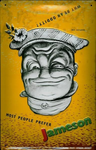 Blechschild Jameson Whisky gelb Gesicht Kopf retro Schild Werbeschild