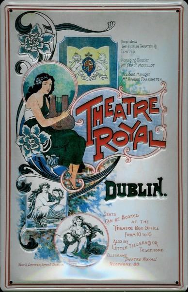 Blechschild Theatre Royal Dublin Frau Schild Nostalgieschild
