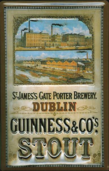 Blechschild Guinness Bier Brauerei St. James Gate Dublin Nostalgie Schild retro Werbung