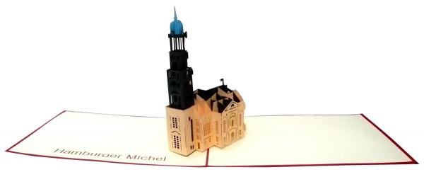 3D Pop-Up Karte Michel Hamburg Michaeliskirche