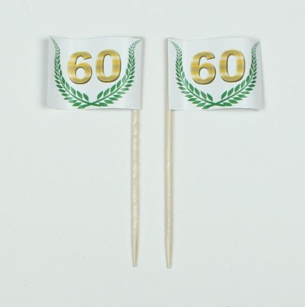 """Party-Picker Flagge Jubiläumskranz """"60"""" Jubiläum Papierfähnchen in Spitzenqualität 50 Stück Beutel"""