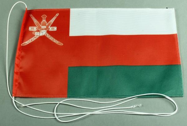 Tischflagge Oman 25x15 cm optional mit Holz- oder Chromständer Tischfahne Tischfähnchen