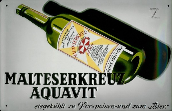Blechschild Malteserkreuz Aquavit Flasche retro Schild Nostalgie Werbeschild