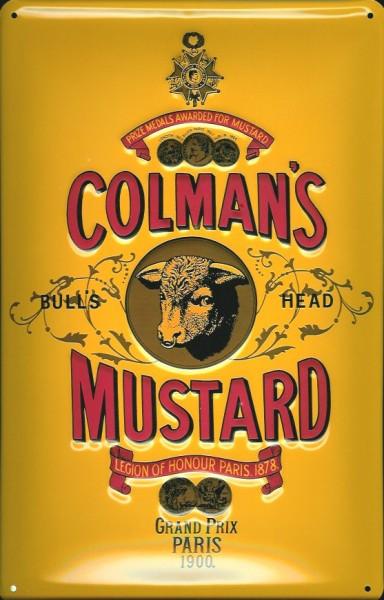Blechschild Colman Mustard Senf Bull Head Schild Werbeschild Nostalgieschild