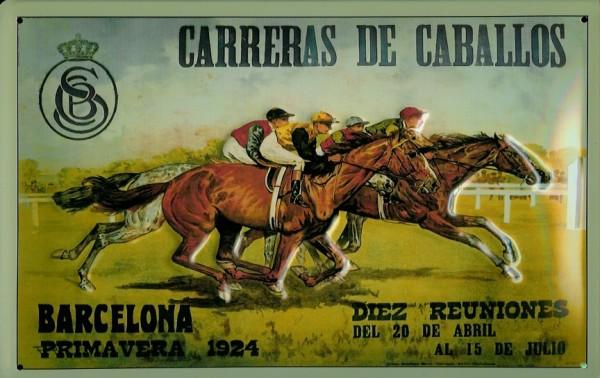 Blechschild Nostalgieschild Carreras de Caballos Barcelona Pferderennen